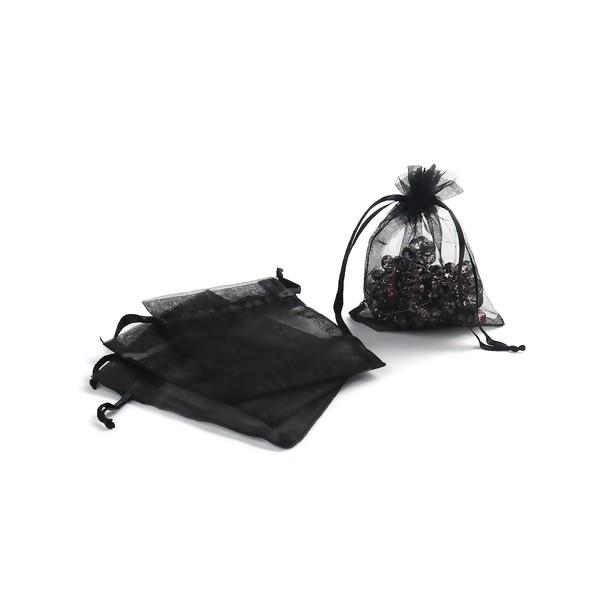 PS110221712 PAX 20 pochettes organza Noire 80 par 100mm pour bijoux , baptême, mariage - Photo n°2