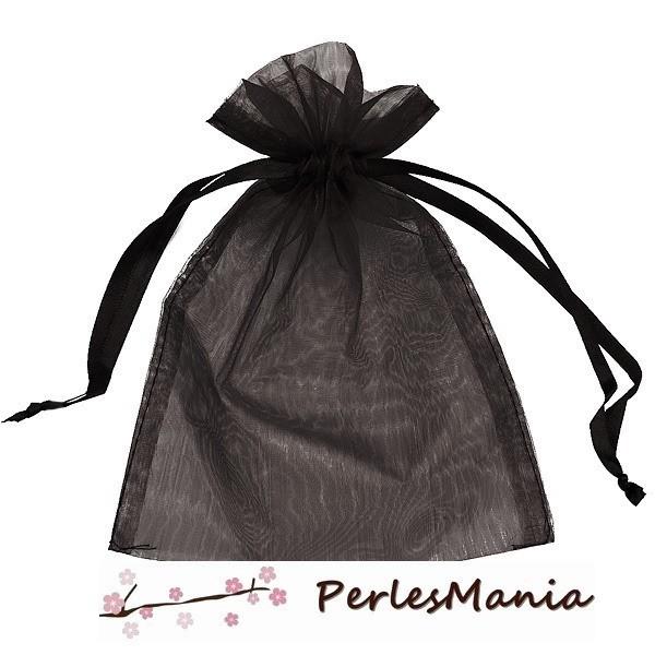 PS110221712 PAX 20 pochettes organza Noire 80 par 100mm pour bijoux , baptême, mariage - Photo n°1