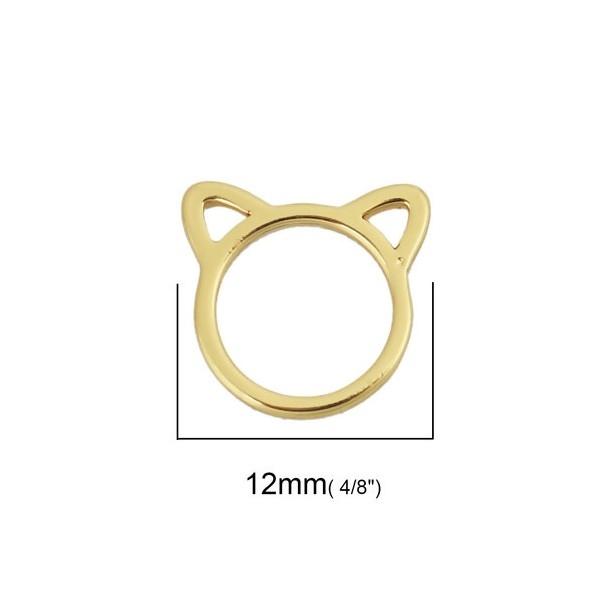 PS110238047 PAX 4 pendentifs petit Chat 12 mm métal coloris Doré - Photo n°2