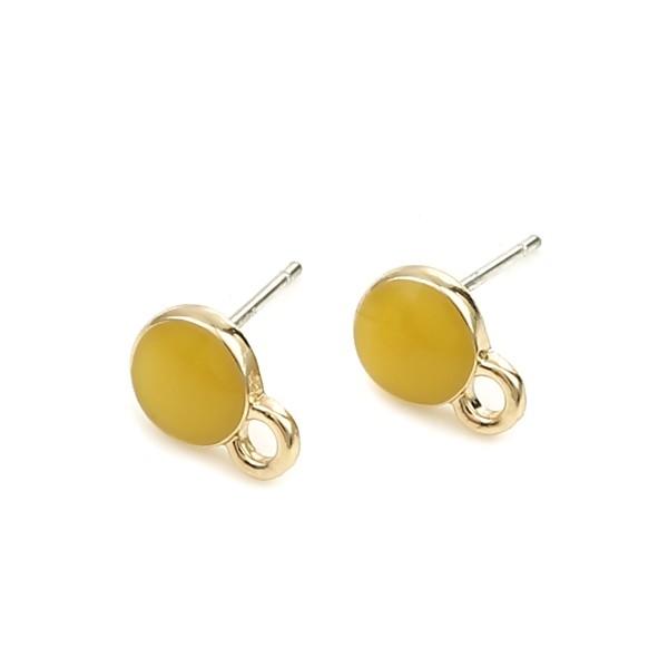 PS110254405 PAX 4 Supports de Boucle d'oreille puce Ronde style emaillé Jaune sur support doré - Photo n°2