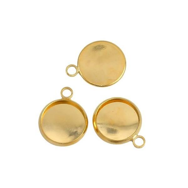 S1192981 PAX 20 supports de pendentifs attache ronde 12mm Cuivre Coloris DORE - Photo n°2