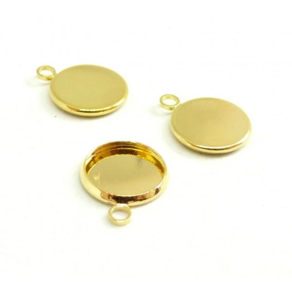 S1192981 PAX 20 supports de pendentifs attache ronde 12mm Cuivre Coloris DORE - Photo n°1