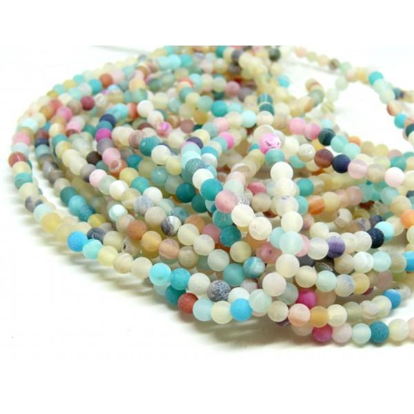 HG589 Lot 1 fil d' environ 90 perles rondes 4 mm Agate craquelé effet givre multicolores coloris 17 - Photo n°1