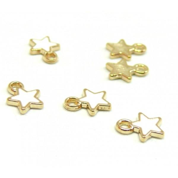 PS110228142 PAX 20 breloques pendentifs style émaillés Etoile Blanc 8mm métal doré - Photo n°1
