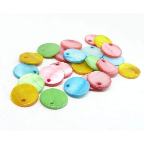 HQ014AMBis PAX 25 Perles Pendentifs Nacre Pastilles 12mm Multicolores - Photo n°1