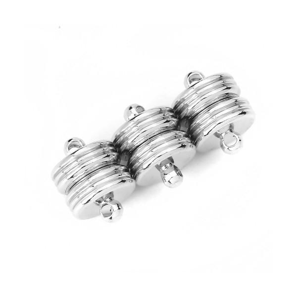 PS115657 PAX 2 Sets de Fermoirs Magnetiques Rondelles avec stries métal couleur Argent Platine - Photo n°3