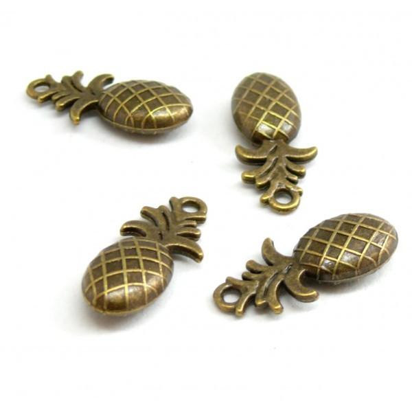 Lot de 10 pendentifs breloque ANANAS 3D BIFACE couleur Bronze 2Y6926 - Photo n°1