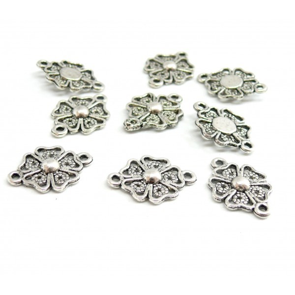 PAX de 20 pendentifs Connecteur Fleur dentelle métal couleur Argent Antique 2D2356 - Photo n°1