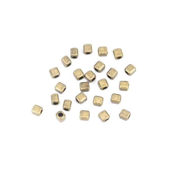 PS110210130 PAX 100 perles intercalaires Cube 4 mm métal couleur Bronze - Photo n°3