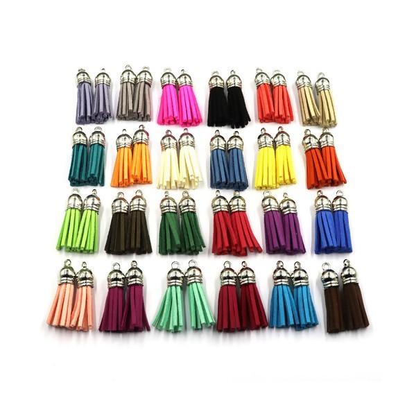 PS110258979 PAX 10 pompons breloque passementière 35mm suédine Multicolore embouts Argent Platine - Photo n°2