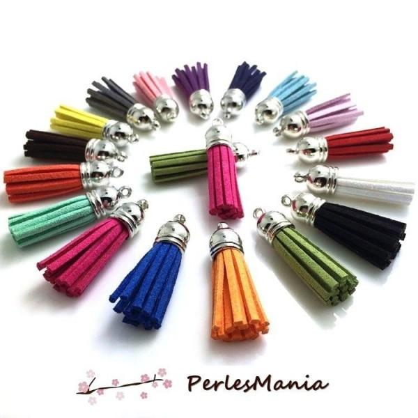 PS110258979 PAX 10 pompons breloque passementière 35mm suédine Multicolore embouts Argent Platine - Photo n°1