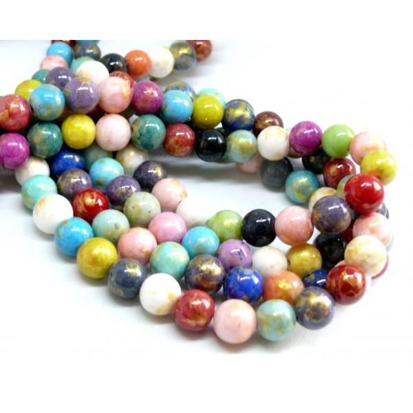 H23201D 1 fil d'environ 48 perles Jade Mashan Multicolores mordoré 8mm - Photo n°1