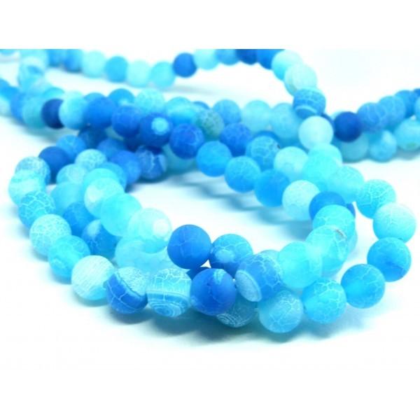 HG055 1 fil d'environ 50 perles Agate 8mm craquelé effet givre bleu intense Coloris 2 - Photo n°1