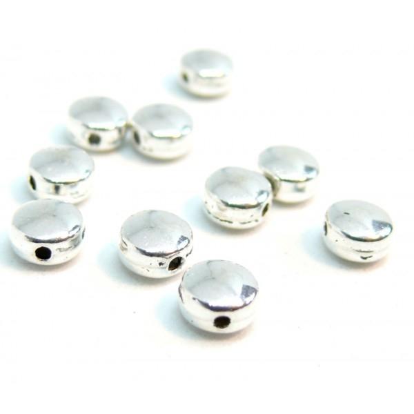 PS110202804Q PAX 50 perles intercalaires Rondes Plates 6mm métal couleur Argent Platine - Photo n°1