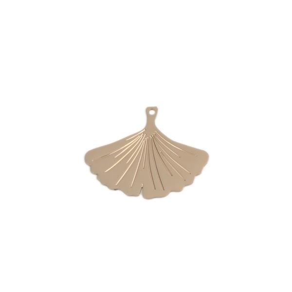 PS110216720 PAX 5 Estampes pendentif filigrane Mini Ginkgo biloba cuivre couleur Doré de 22mm - Photo n°1