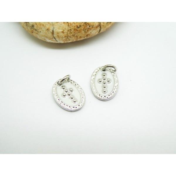 1 Pendentif ovale Croix 12*9mm laiton plaqué argent et émail blanc - Photo n°1