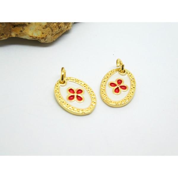 1 Pendentif ovale Fleur 12*9mm laiton plaqué or et émail blanc et rouge - Photo n°1