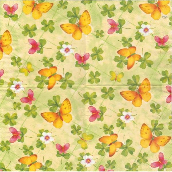 4 Serviettes en papier Papillons Trèfle Format Lunch Decoupage Decopatch L-197406 Paw - Photo n°1