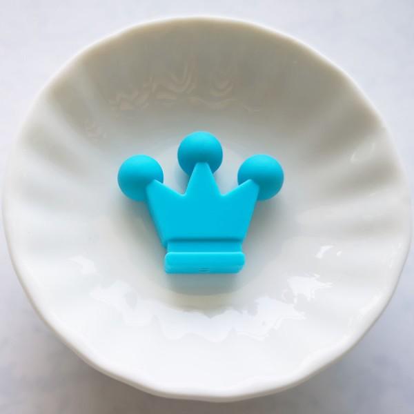 Perle en Silicone Couronne 33mm x 28mm Couleur Bleu, Creation Attache Tetine - Photo n°1