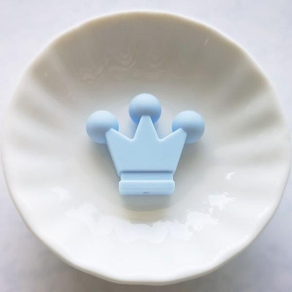 Perle en Silicone Couronne 33mm x 28mm Couleur Bleu Clair, Creation Attache Tetine - Photo n°1
