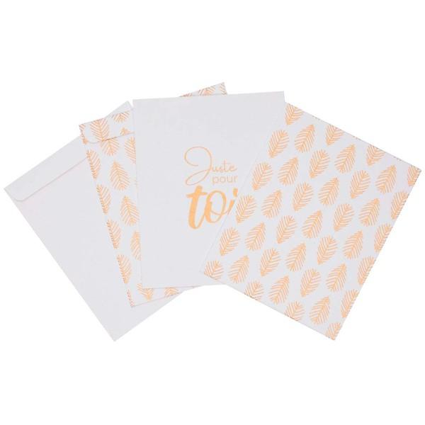 Sachet cadeau - Blanc à motifs dorés - 13,4 x 17 cm - 4 pcs - Photo n°1