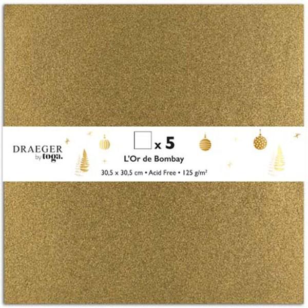 Papier Scrapbooking Toga - Doré pailleté - 30,5 x 30,5 cm - 5 pcs - Photo n°1