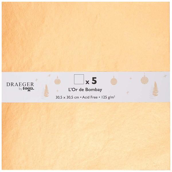 Papier Scrapbooking Toga - Doré - 30,5 x 30,5 cm - 5 pcs - Photo n°1
