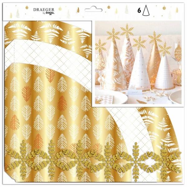 Kit Déco de table - Cônes - Blanc et doré - 6 pcs - Photo n°1