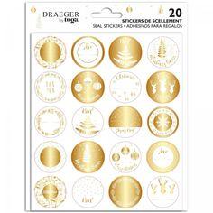 Stickers de Noël - Doré et Blanc - 20 pcs