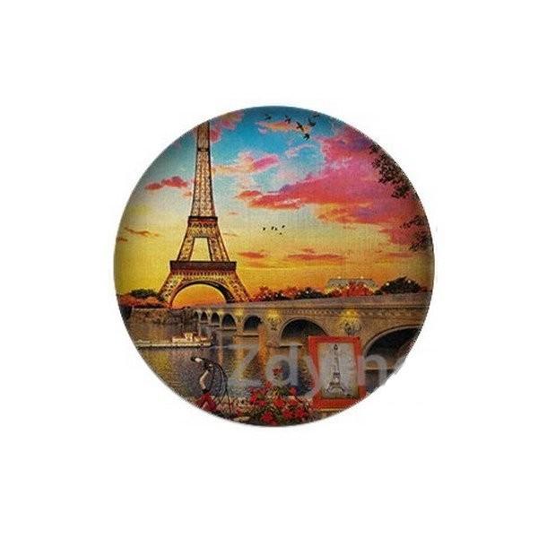 2 cabochons rond en verre 20 mm PARIS TOUR EIFFEL - Photo n°1