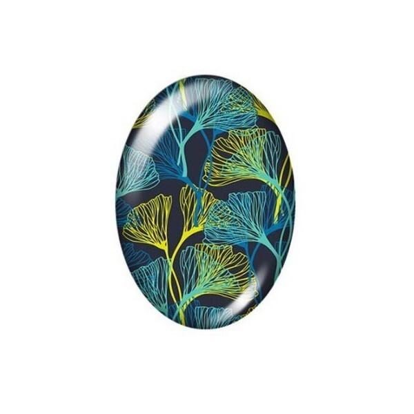 2 cabochons ovale en verre 18 x 25 mm ROSE FLEUR - Photo n°1
