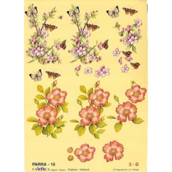 Carte 3D à découper - PARRA 18 - Fleur et papillons - Photo n°1