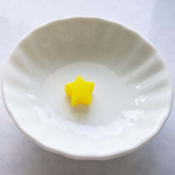 Perle en Silicone Etoile Jaune 13mm x 13mm, Creation Attache Tetine - Photo n°1