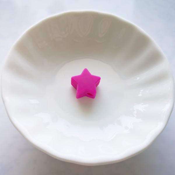 Perle en Silicone Etoile Fuchsia 13mm x 13mm, Creation Attache Tetine - Photo n°1
