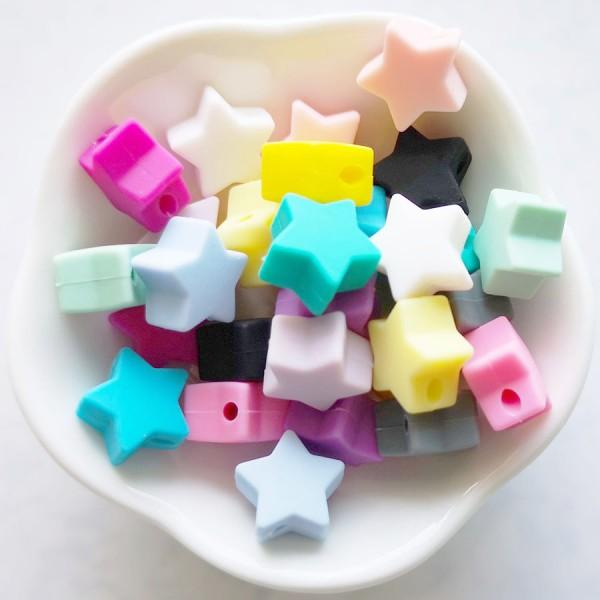 Perle en Silicone Etoile Violet Clair 13mm x 13mm, Creation Attache Tetine - Photo n°2