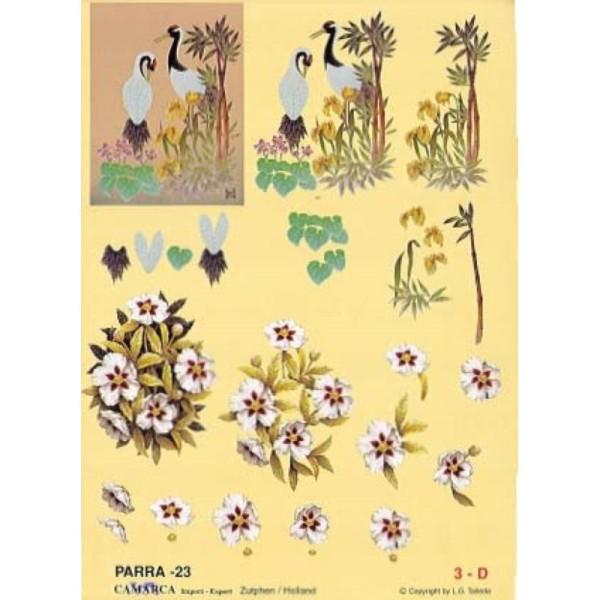 Carte 3D à découper - PARRA 23 - 2 grues derrière plantes - Photo n°1