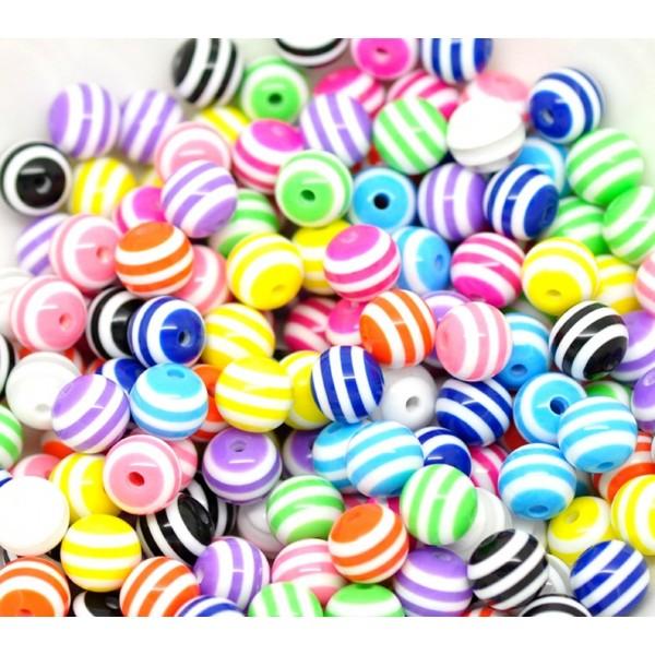 LOT 20 PERLES ACRYLIQUES : rondes multicolores 10mm - Photo n°1