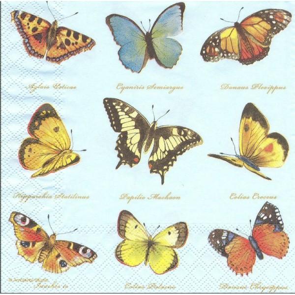4 Serviettes en papier Collection de Papillons Format Lunch Decoupage Decopatch 13307161 Ambiente - Photo n°1
