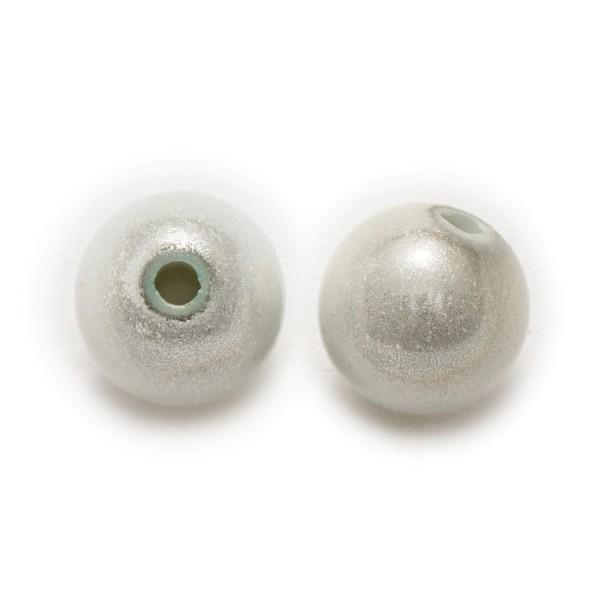 10 Perles 10mm Blanc Miracle Magique Effet Oeil De Poisson Creation Bijoux - Photo n°2