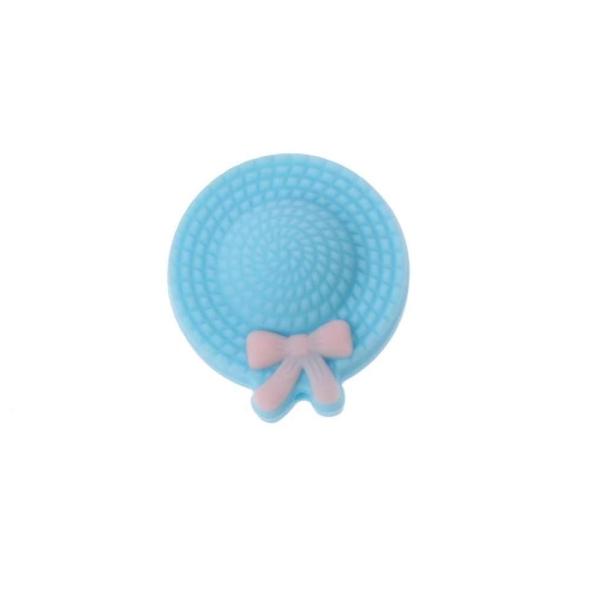 Perle Silicone Mini Chapeau 25mm Bleu , Creation Attache Tetine - Photo n°1