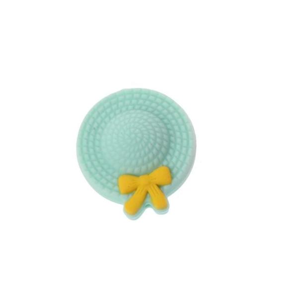 Perle Silicone Mini Chapeau 25mm Vert Tilleul, Creation Attache Tetine - Photo n°1