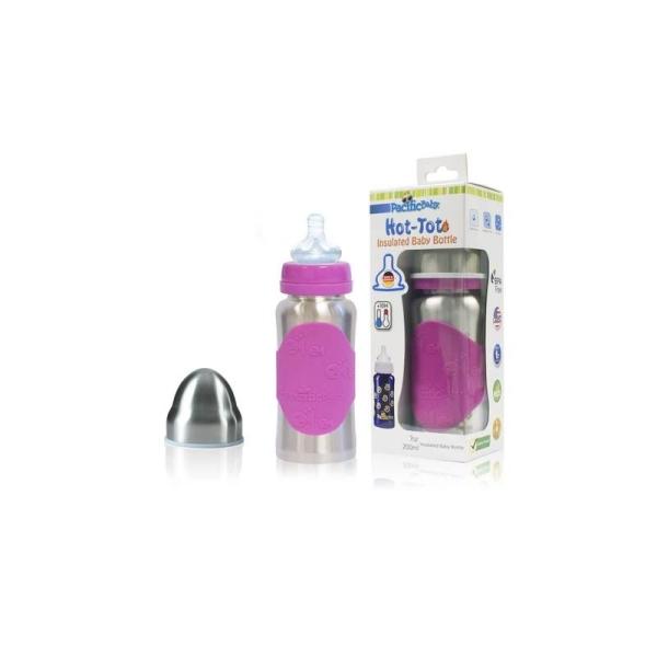 Biberon rose en inox de 200 ml - Pacific Baby - Photo n°1