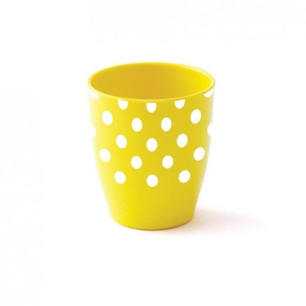 Gobelet mélamine jaune petits pois blancs - Plastorex - Photo n°1