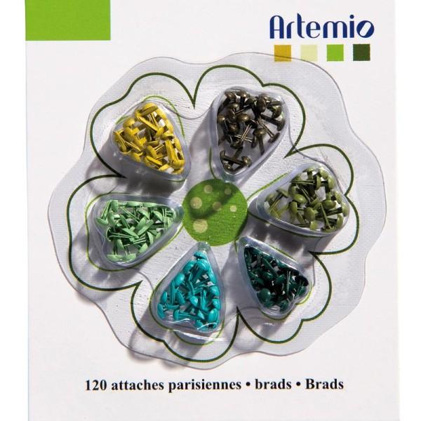 Attaches parisiennes super mini rond tendance Vert x 120 - Photo n°1