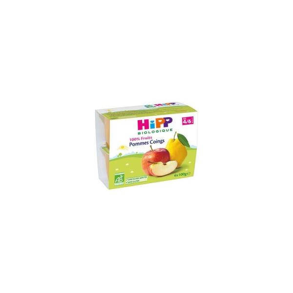 100% Fruits Pommes Coings (Dès 4/6 mois) - 6 packs de 4 coupelles - Hipp Biologique - Photo n°1
