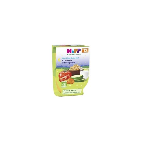 Mon Dîner Bonne Nuit Couscous aux Légumes (Dès 12 mois) - 4 packs de 2 bols - Hipp Biologique - Photo n°1