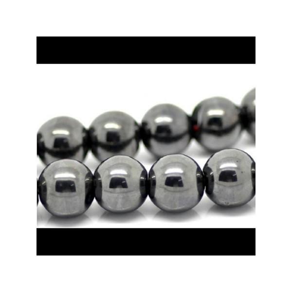 40 Perles Hematite Rondes 10mm - Photo n°1