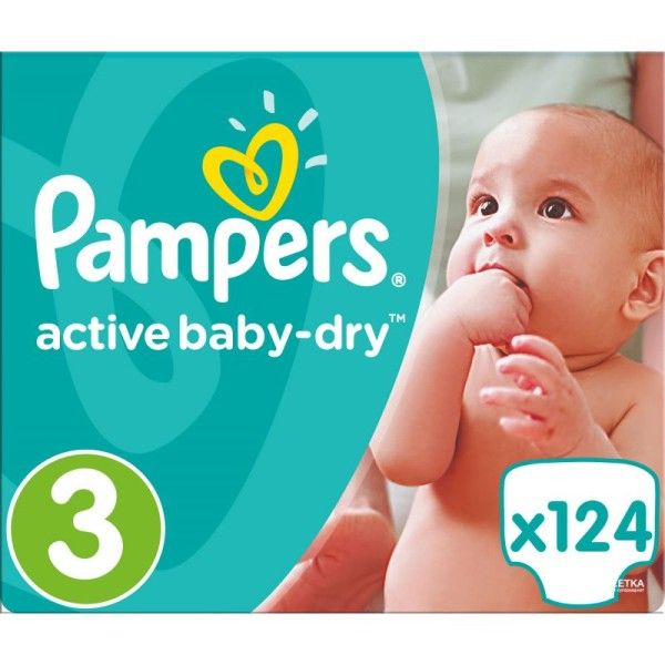 Pampers couches active baby dry Taille 3 - 1 paquet de 124 couches - Photo n°1