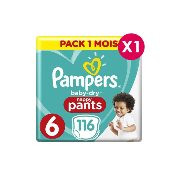 Culottes d'apprentissage Pampers Taille 6 - pack 1 mois - Photo n°1