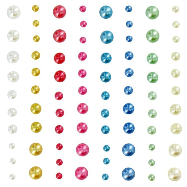 Strass autocollant Demi perle pastel x 80 - Photo n°1
